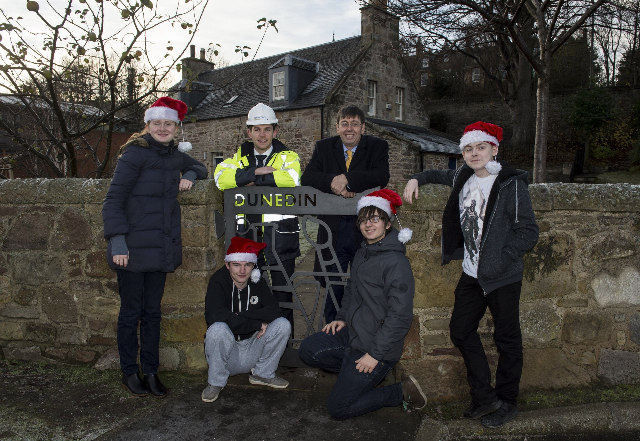 Dunedin pupils and BT Openreach at school gate